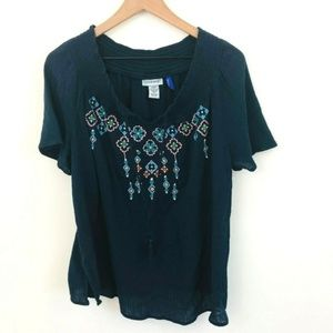 Catherines Embroidered Peasant Top 1X